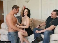Horny slut wives fuck new men while hubby watches